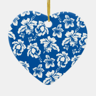 Estampado de plores del azul de Hawiian Adorno De Cerámica En Forma De Corazón