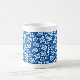 Estampado de plores del azul de Hawiian Tazas De Café