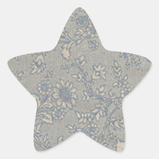 Estampado de plores del azul del vintage pegatina en forma de estrella