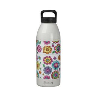 Estampado de plores del hippy botella de agua reutilizable