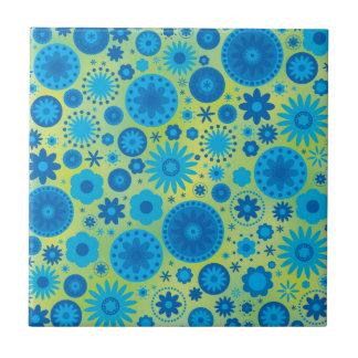 Estampado de plores del hippy del azul y de la azulejo cuadrado pequeño