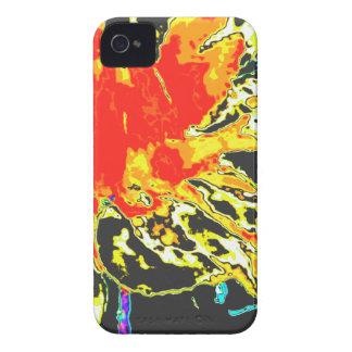 Estampado de plores floral anaranjado abstracto de iPhone 4 Case-Mate fundas