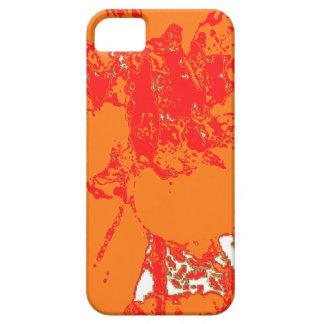 Estampado de plores floral anaranjado brillante de iPhone 5 coberturas