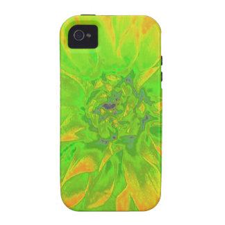Estampado de plores floral anaranjado verde de la iPhone 4/4S carcasas