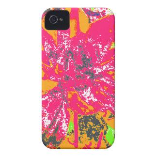 Estampado de plores floral anaranjado y rosado de Case-Mate iPhone 4 cárcasas