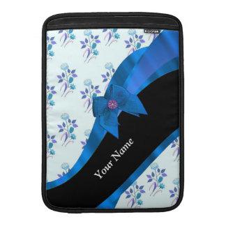 Estampado de plores floral azul bonito fundas macbook air