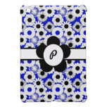 Estampado de plores floral azul para las iniciales iPad mini protectores