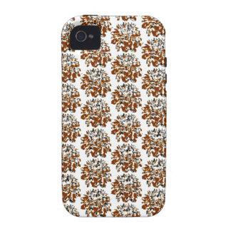 Estampado de plores floral de la dalia de Brown iPhone 4 Funda