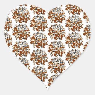 Estampado de plores floral de la dalia de Brown Pegatina En Forma De Corazón