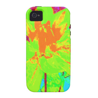 Estampado de plores floral de la dalia de la verde iPhone 4 fundas