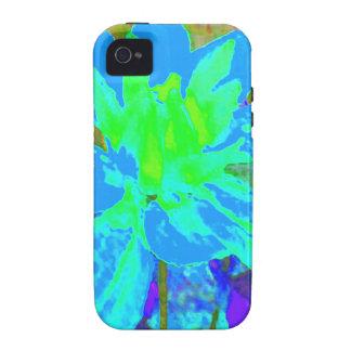 Estampado de plores floral de la dalia del azul de vibe iPhone 4 carcasa