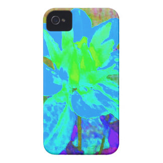 Estampado de plores floral de la dalia del azul de iPhone 4 carcasas