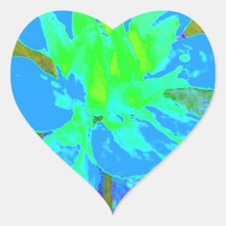 Estampado de plores floral de la dalia del azul de pegatina en forma de corazón