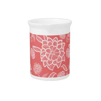 Estampado de plores floral del blanco del jarras para bebida