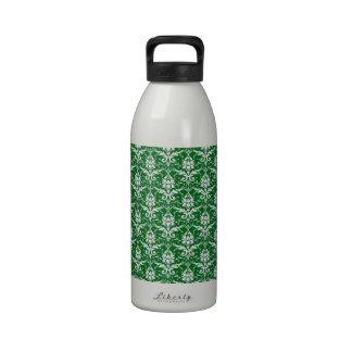 Estampado de plores floral del Victorian en verde Botella De Beber