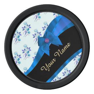 Estampado de plores floral del vintage azul bonito fichas de póquer