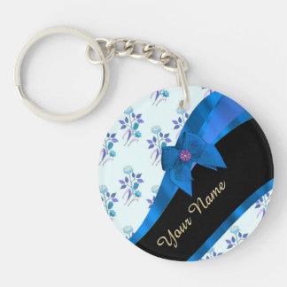 Estampado de plores floral del vintage azul bonito llavero redondo acrílico a una cara