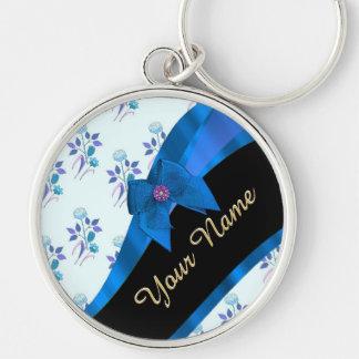 Estampado de plores floral del vintage azul bonito llavero redondo plateado