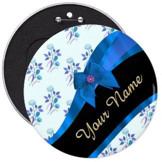 Estampado de plores floral del vintage azul bonito chapa redonda 15 cm