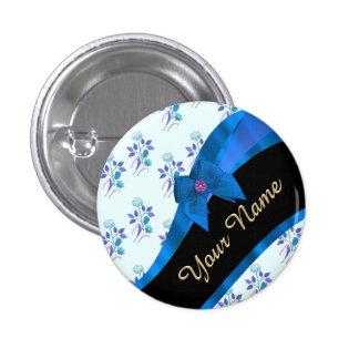 Estampado de plores floral del vintage azul bonito chapa redonda 2,5 cm