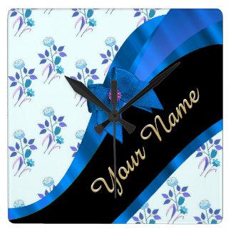 Estampado de plores floral del vintage azul bonito reloj cuadrado