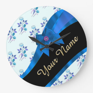 Estampado de plores floral del vintage azul bonito reloj redondo grande