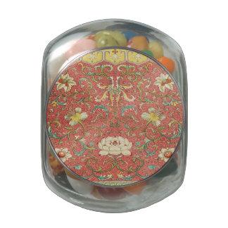Estampado de plores floral del vintage frascos cristal