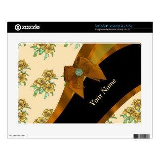 Estampado de plores floral del vintage marrón calcomanías para netbooks