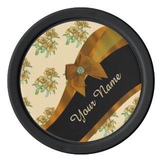 Estampado de plores floral del vintage marrón fichas de póquer