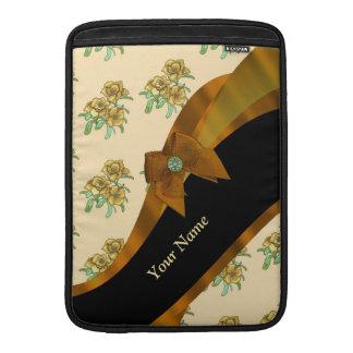 Estampado de plores floral del vintage marrón funda  MacBook