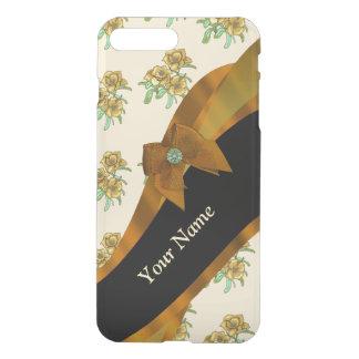 Estampado de plores floral del vintage marrón fundas para iPhone 7 plus