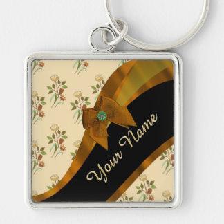 Estampado de plores floral del vintage marrón llavero cuadrado plateado