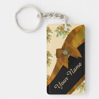 Estampado de plores floral del vintage marrón llavero rectangular acrílico a doble cara