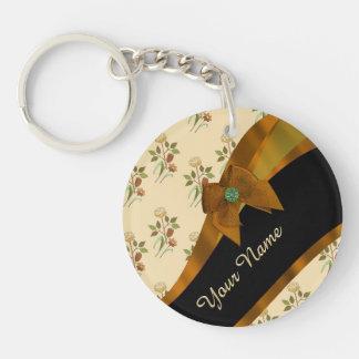 Estampado de plores floral del vintage marrón llavero redondo acrílico a doble cara