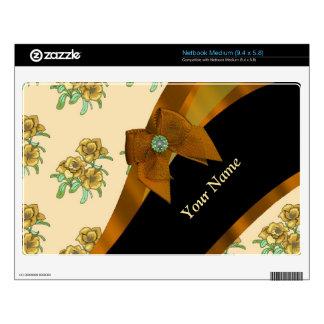 Estampado de plores floral del vintage marrón netbook mediano calcomanía