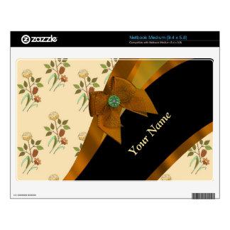 Estampado de plores floral del vintage marrón netbook mediano skins