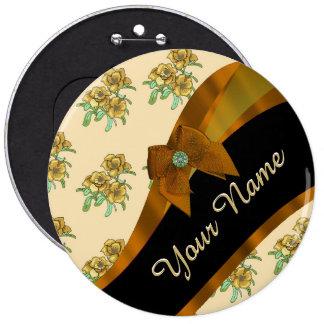 Estampado de plores floral del vintage marrón chapa redonda 15 cm