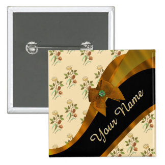 Estampado de plores floral del vintage marrón chapa cuadrada 5 cm