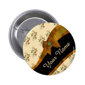 Estampado de plores floral del vintage marrón chapa redonda 5 cm