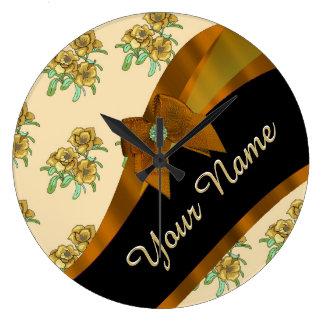 Estampado de plores floral del vintage marrón reloj redondo grande