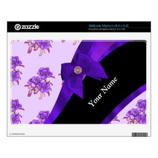 Estampado de plores floral del vintage púrpura calcomanías para netbooks