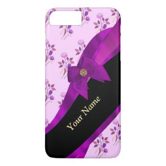 Estampado de plores floral del vintage púrpura de funda iPhone 7 plus