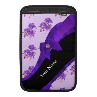 Estampado de plores floral del vintage púrpura funda macbook air