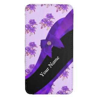 Estampado de plores floral del vintage púrpura funda para galaxy s4