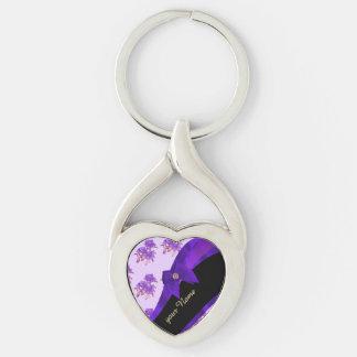 Estampado de plores floral del vintage púrpura llavero plateado en forma de corazón