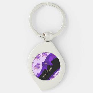 Estampado de plores floral del vintage púrpura llavero plateado en forma de espiral