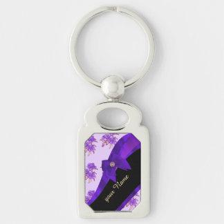 Estampado de plores floral del vintage púrpura llavero plateado rectangular