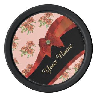 Estampado de plores floral del vintage rojo bonito fichas de póquer