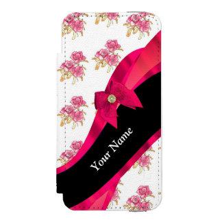 Estampado de plores floral del vintage rojo bonito funda billetera para iPhone 5 watson