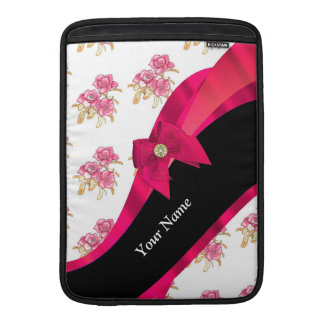 Estampado de plores floral del vintage rojo bonito funda para macbook air
